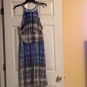 Dress — gray/ blue/ white